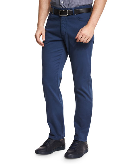 Ermenegildo Zegna Five-Pocket Stretch-Cotton Pants, American Navy