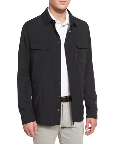 Snap-Front Long-Sleeve Shirt Jacket, Black