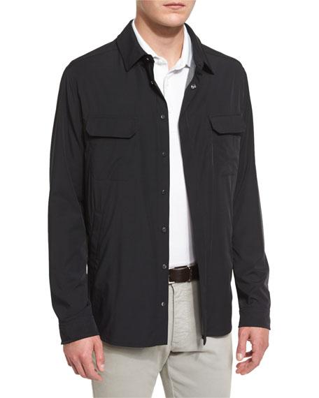 Snap-Front Long-Sleeve Shirt Jacket, Black
