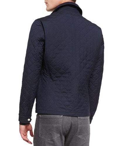 ERMENEGILDO ZEGNA Quilted Wool-Blend Field Jacket, Navy