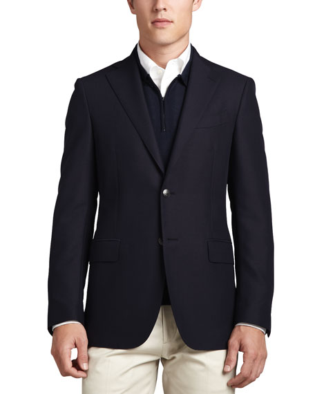 Wide-Lapel Blazer, Navy