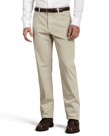 Ermenegildo Zegna Five-Pocket Brushed Cotton Pants, Plaster