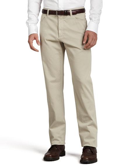 Five-Pocket Brushed Cotton Pants, Plaster