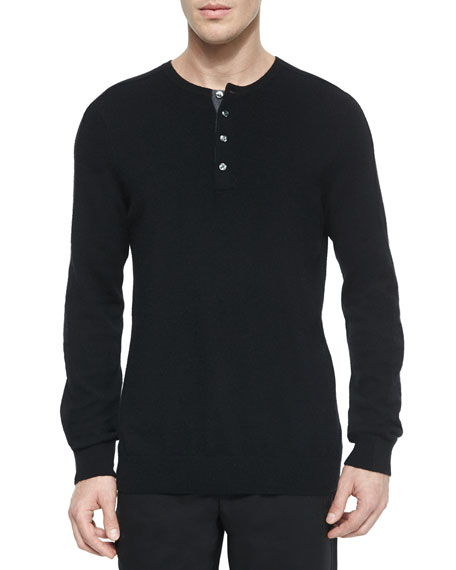 Cashmere Long-Sleeve Henley Tee, Black