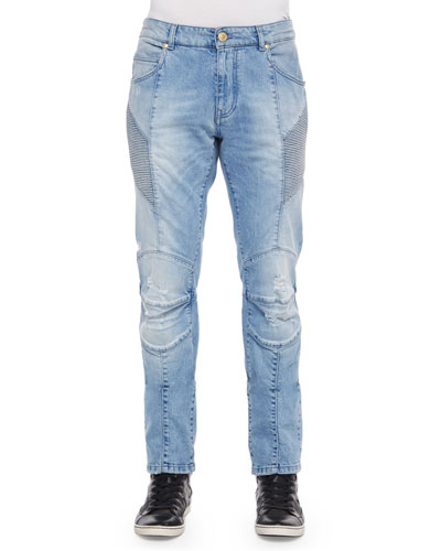Distressed Moto Denim Jeans, Light Blue