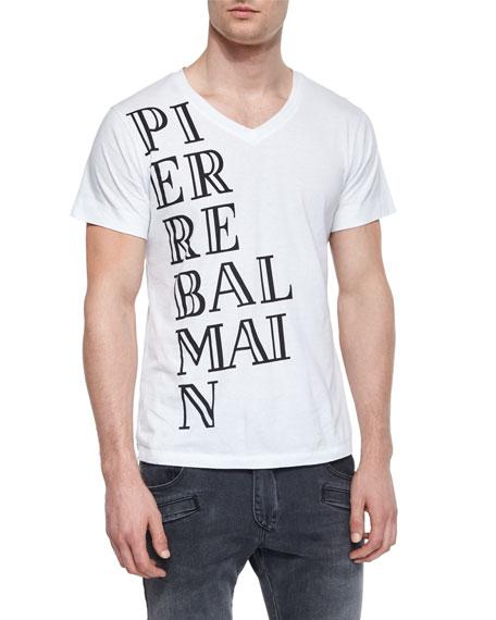 Logo Graphic V-Neck T-Shirt, White