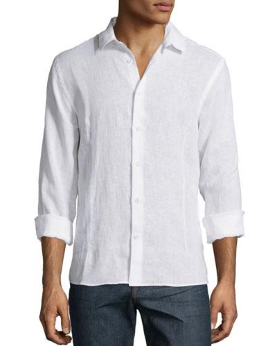 Solid Long-Sleeve Linen Shirt, White