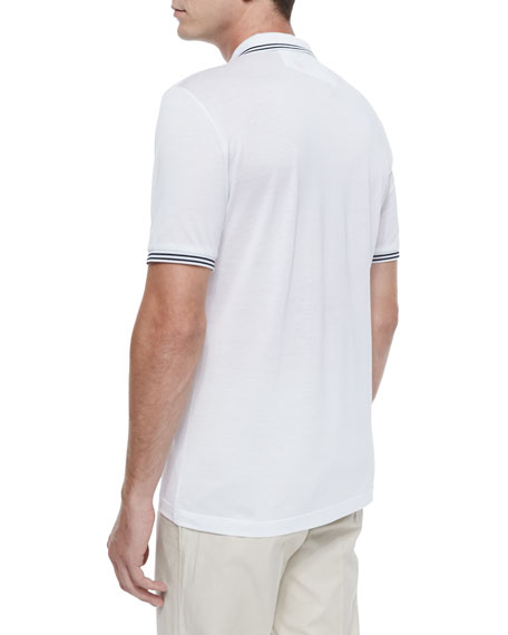 Tape-Tipped Short-Sleeve Polo, White