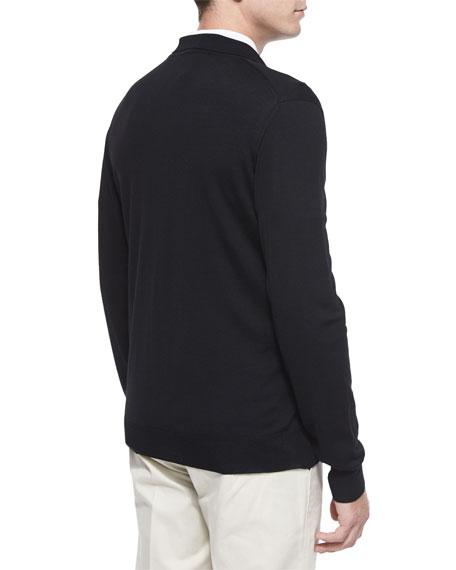1/4-Zip Long-Sleeve Polo Sweater, Black