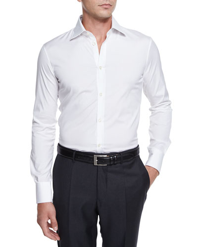 Long-Sleeve Woven Sport Shirt, White