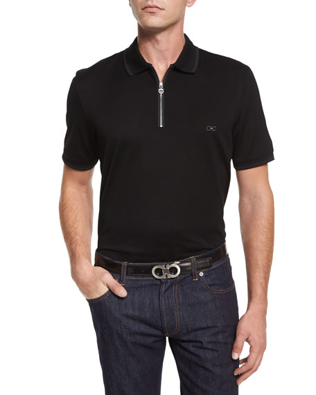 Tipped Zip-Front Polo Shirt, Black
