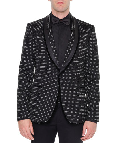 Shawl-Collar Dot-Print Velvet Evening Jacket, Black