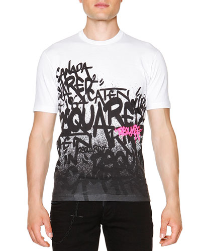 Graffiti-Print Short-Sleeve T-Shirt, White