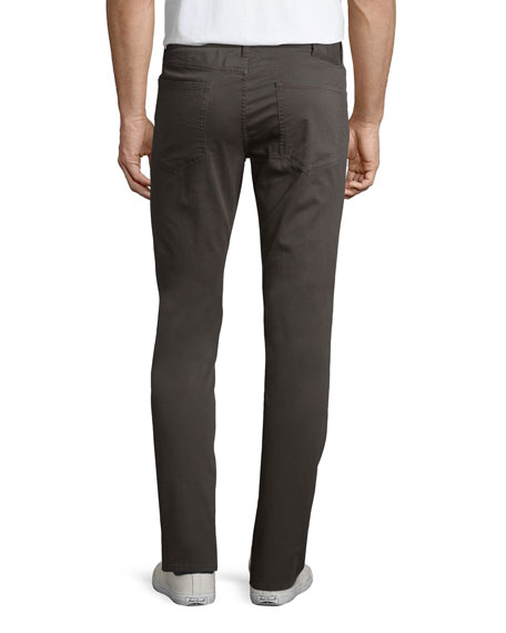 Essential Five-Pocket Twill Pants, Gray