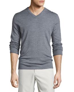 Wool-Blend V-Neck Sweater, Gray