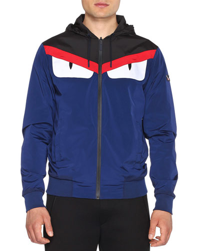 Monster Eyes Reversible K-Way Jacket, Blue
