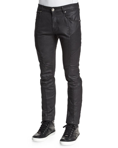 Coated Moto Denim Jeans, Black