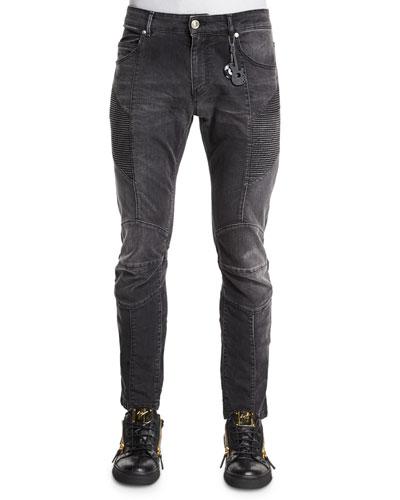 Faded Slim-Fit Moto Denim Jeans, Black