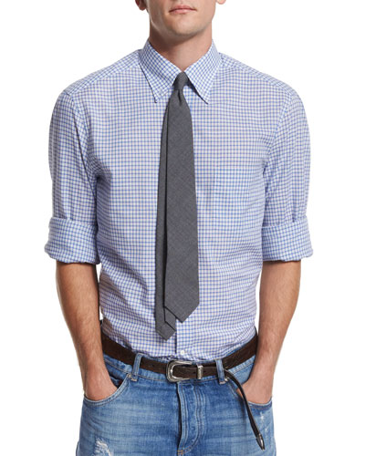 Mini-Check Woven Sport Shirt, Sky Blue