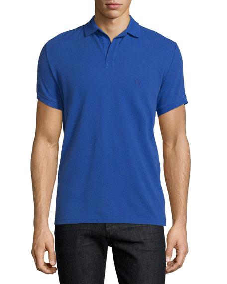 Johnny-Collar Pique Polo Shirt, Purple