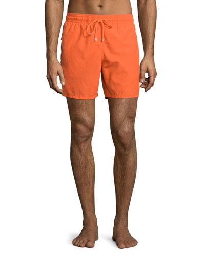 Moorea Water-Reactive Solid Swim Trunks, Orange