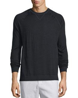 Crewneck Raglan-Sleeve Sweater, Black