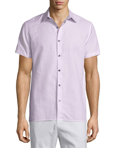 Linen-Blend Short-Sleeve Sport Shirt, Pink