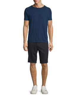 Flat-Front Linen Shorts, Black