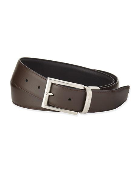 Reversible Belt w/Brushed Buckle, Black/Dark Brown