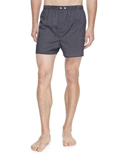 Plaza Pindot Boxer Shorts, Navy