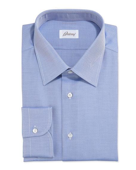 Brioni Twill Dress Shirt, Blue