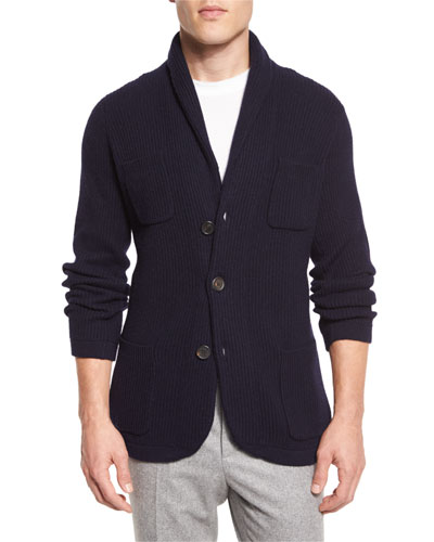 Ribbed Cashmere Blazer-Style Cardigan, Navy