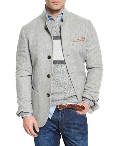 Cashmere Hybrid Sport Jacket, Gray