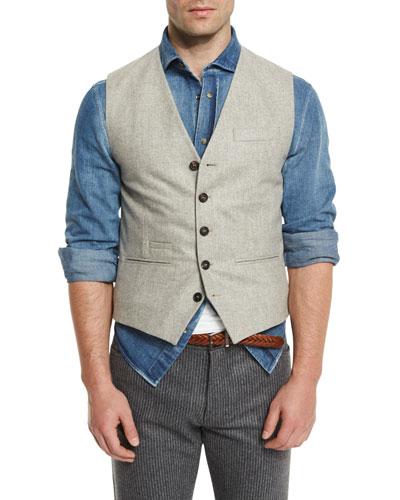 Flannel Wool Waistcoat, Tan