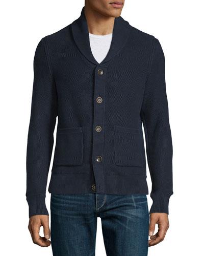 Avery Shawl-Collar Knit Cardigan, Navy