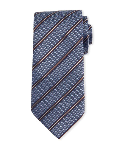 Textured Striped Silk Tie, Light Blue