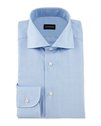Tonal Glen-Plaid Woven Dress Shirt, Blue