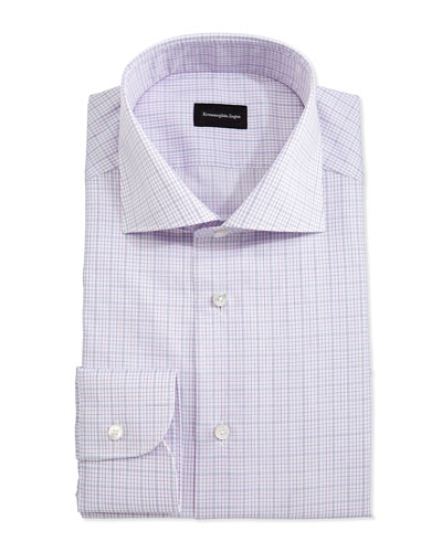 Plaid Woven Dress Shirt, Pink