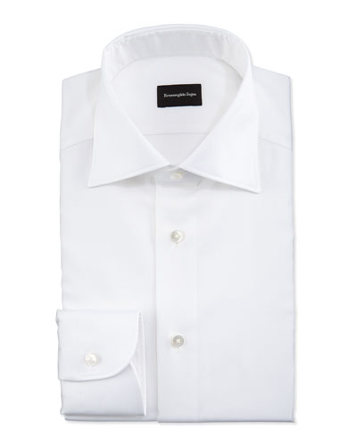 White-On-White Textured Dress Shirt, White