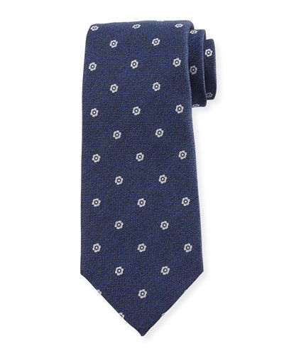 Neat Flower-Print Oxford Silk Tie