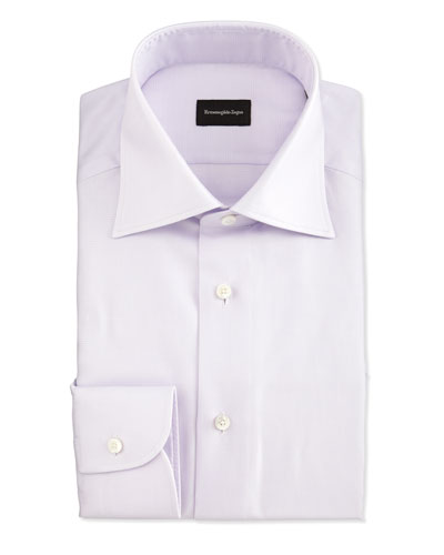 Textured Glen Plaid Woven Dress Shirt, Lavender