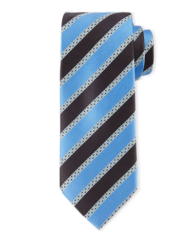 Satin-Striped Silk Tie, Light Blue/Navy