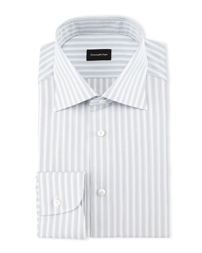 Track-Stripe Woven Dress Shirt, White