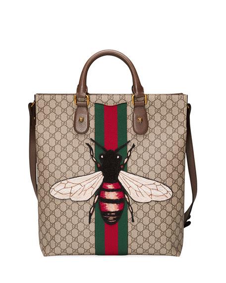 d6d560ad5 Gucci Men's Bee-Embroidered GG Supreme Canvas Tote Bag, Tan