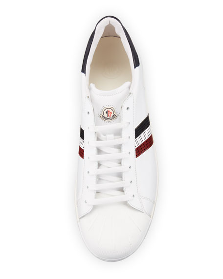 Perforated Tricolor-Stripe Low-Top Sneaker, White
