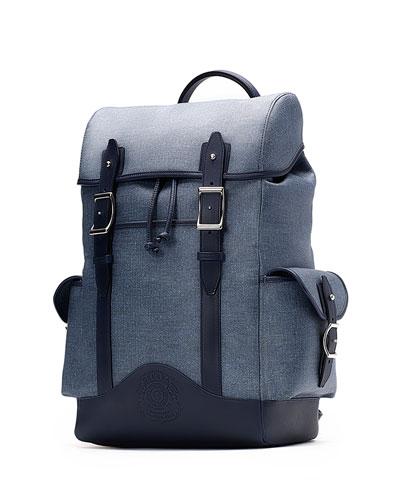 Explorer No. 239 Leather Backpack, Blue