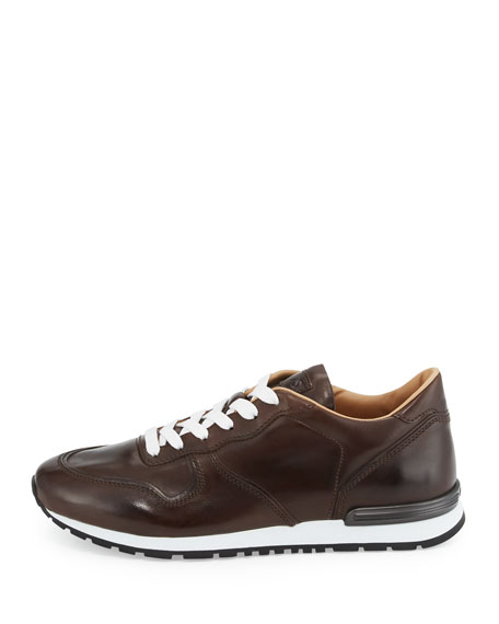 Smooth Leather Trainer Sneaker, Dark Brown
