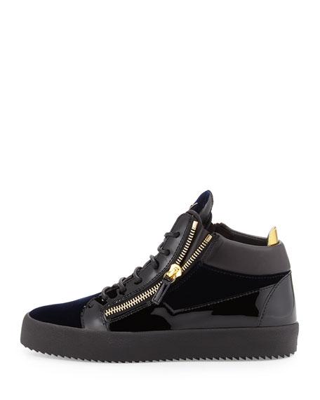 Men's Velvet & Patent Leather Mid-Top Sneaker