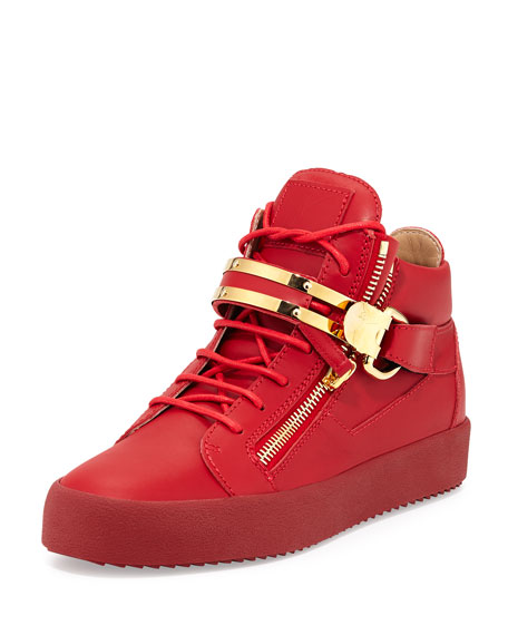 Giuseppe Zanotti Double-Strap Leather Mid-Top Sneaker, Red