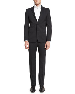 Pinstripe Two-Piece Wool Suit, Charcoal/Blue